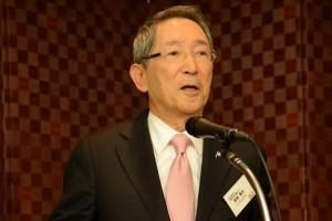 Prof. Hideo Miyahara, President of NICT (情報通信研究機構理事長宮原秀夫氏) proposes a toast.
